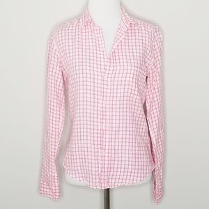 Frank & Eileen Linen Plaid Button Down Top XS